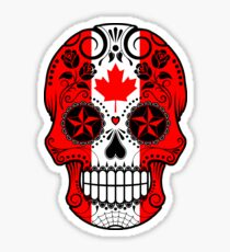 Sugar Skull with Roses and Flag of Canada Sticker