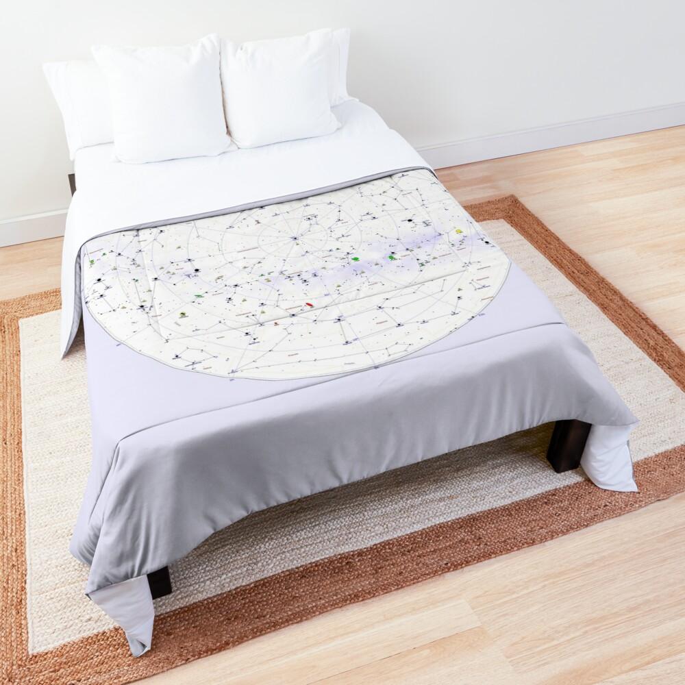Constellation Map, ur,comforter_top_king,square,1000x1000