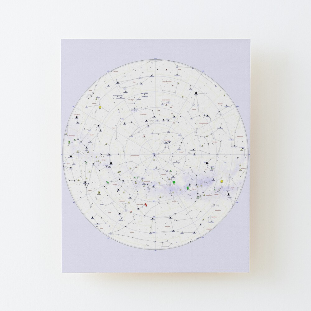 Constellation Map, ur,mounted_print_wood_portrait_small_front,square,1000x1000
