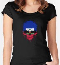 Chaotic Haitian Flag Splatter Skull Women's Fitted Scoop T-Shirt