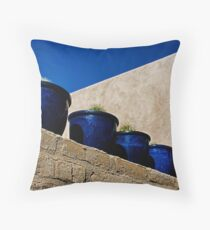 Blue Pottery on Wall Throw Pillow