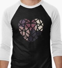Heart Collage, colored patchwork  Men's Baseball ¾ T-Shirt