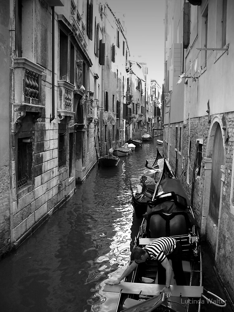 Gondoliers Getting Ready ~ Black & White by Lucinda Walter