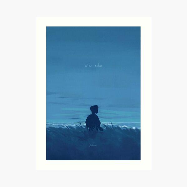 Blue Side (w/ text) Art Print