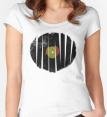 Cool Broken Vinyl Record Grunge Vintage Women's Fitted Scoop T-Shirt