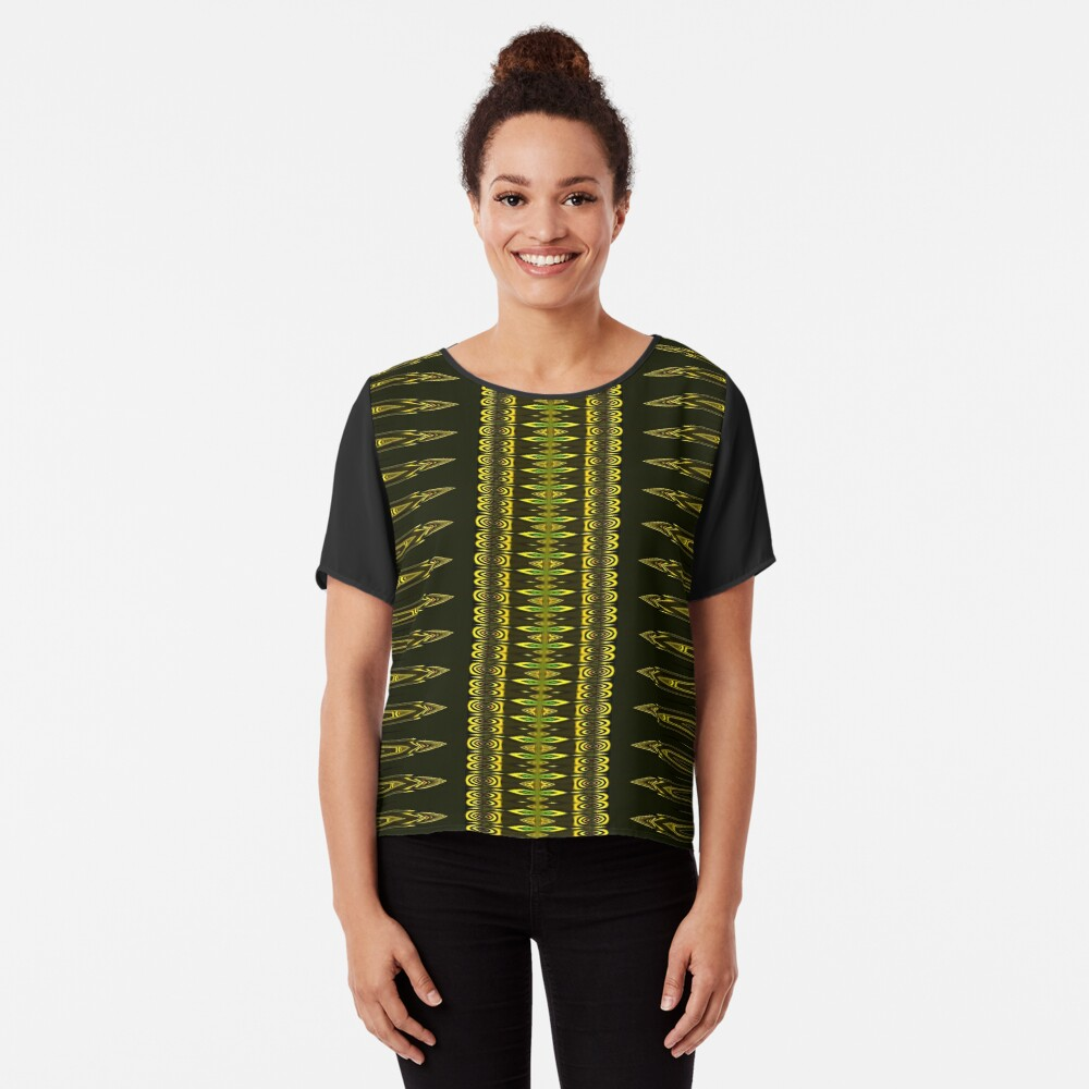 Golden Decor Crochet Chiffon Top