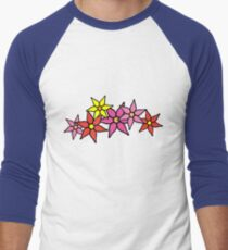 Cute and Colorful Blossoms Men's Baseball ¾ T-Shirt