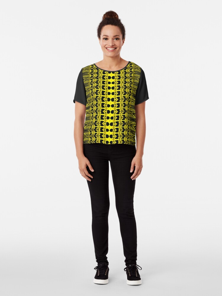 Alternate view of Golden Fencing  Chiffon Top