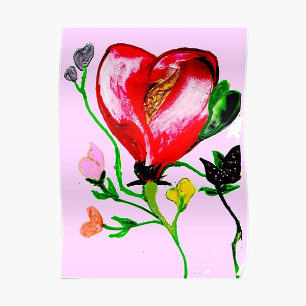 Rose with a Golden Heart Poster
