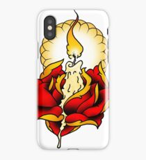 Neotraditional Candle and Rose iPhone Case/Skin