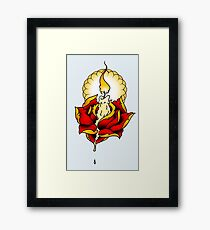 Neotraditional Candle and Rose Framed Print