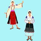 Muntenia and a Mehedinti  Romanian Female, Old Fashioned Peasant Costumes by Dennis Melling