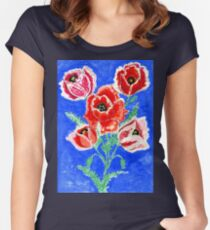 Poppies Bouquet Painting Women's Fitted Scoop T-Shirt