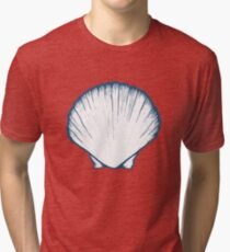 Seashell, sea shell, nature ocean aquatic underwater vector. Hand drawn marine engraving illustration on white background Tri-blend T-Shirt