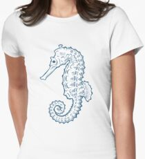 Seahorse sea horse nature ocean aquatic underwater vector. Hand drawn marine engraving illustration on white background Women's Fitted T-Shirt