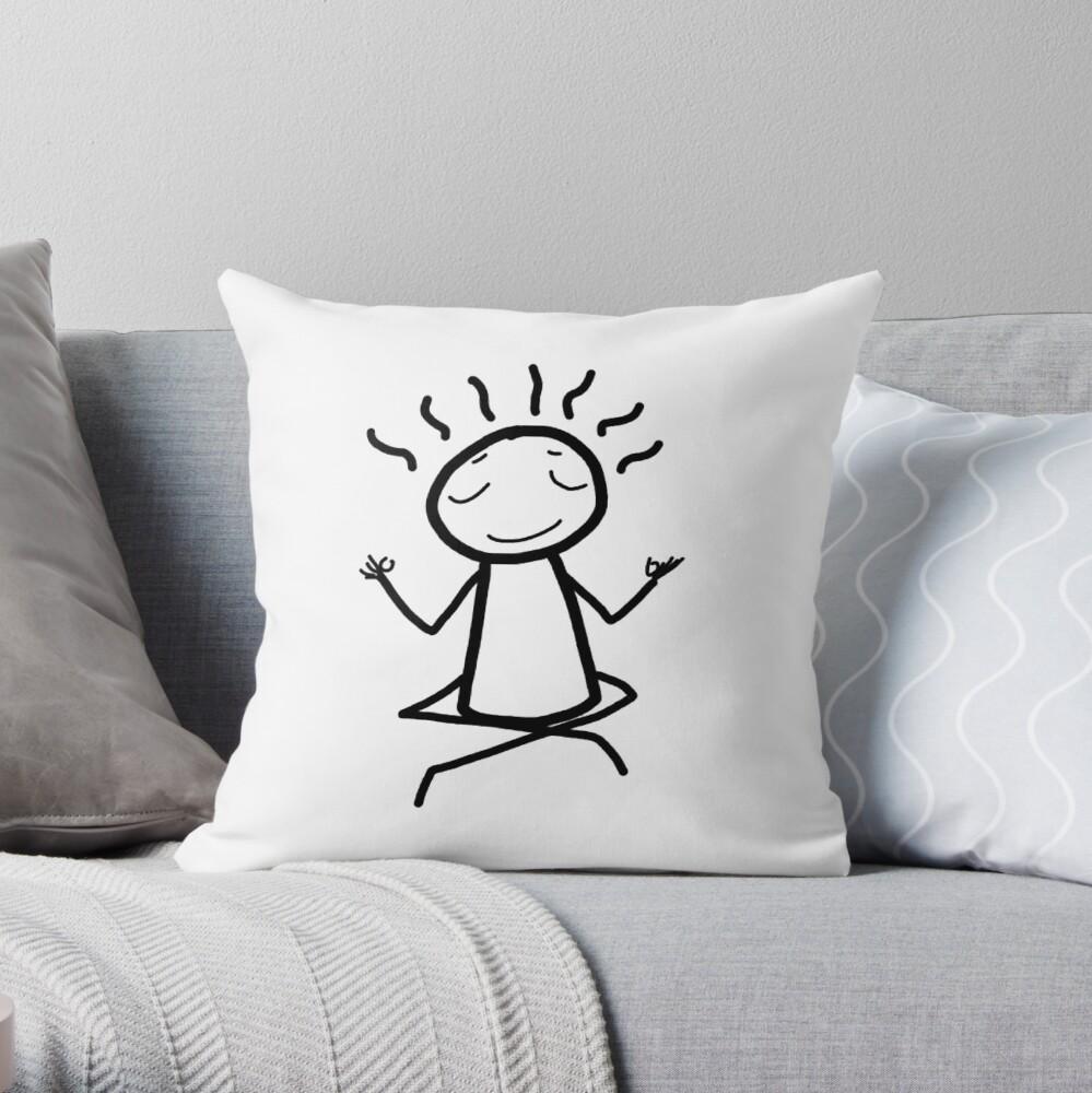 Meditate - meditation - yoga - yogi- stick figure- zen guy Throw Pillow