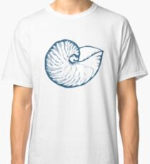 Seashell, sea shell, nature ocean aquatic underwater vector. Hand drawn marine engraving illustration on white background Classic T-Shirt