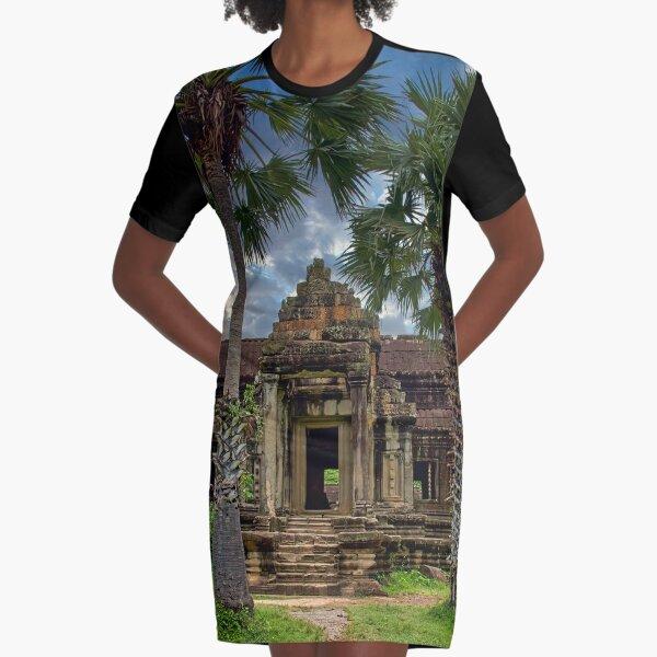 Angkor Wat Cambodian Khmer Temple Graphic T-Shirt Dress