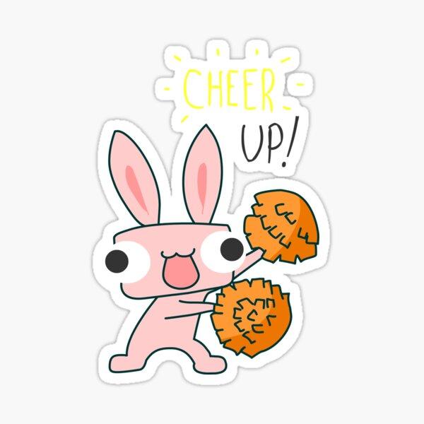 Cheer Up Cheerleading Bunny Sticker