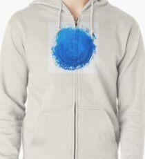 Blue brush strokes Zipped Hoodie