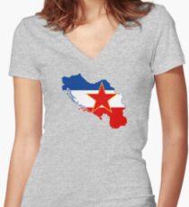 Flag Map of Yugoslavia  Women's Fitted V-Neck T-Shirt