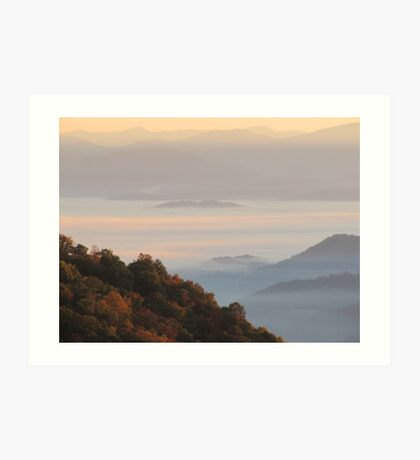 Sun-Kissed Mountain Mists Of October Dawn Art Print