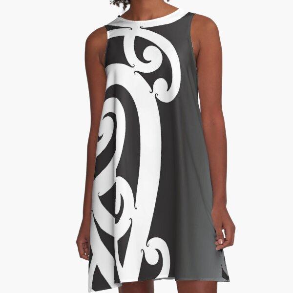 Black and White Layered Maori Koru Design A-Line Dress