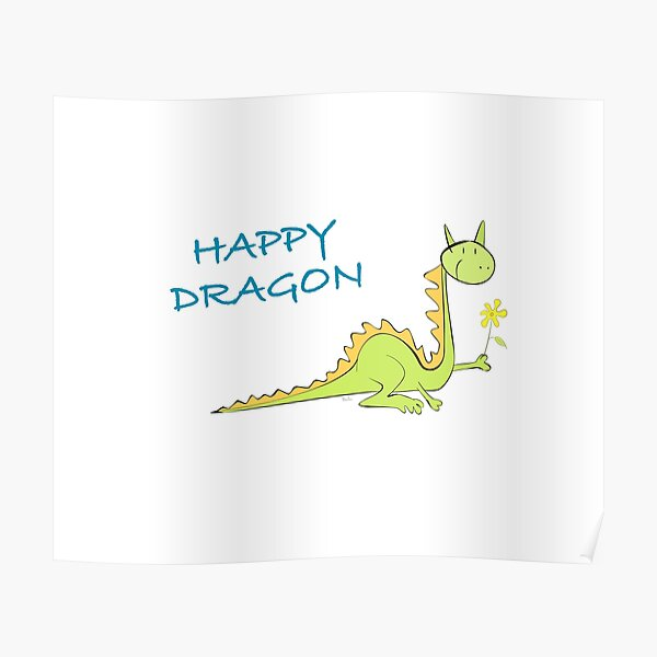 Dragon with flower Poster