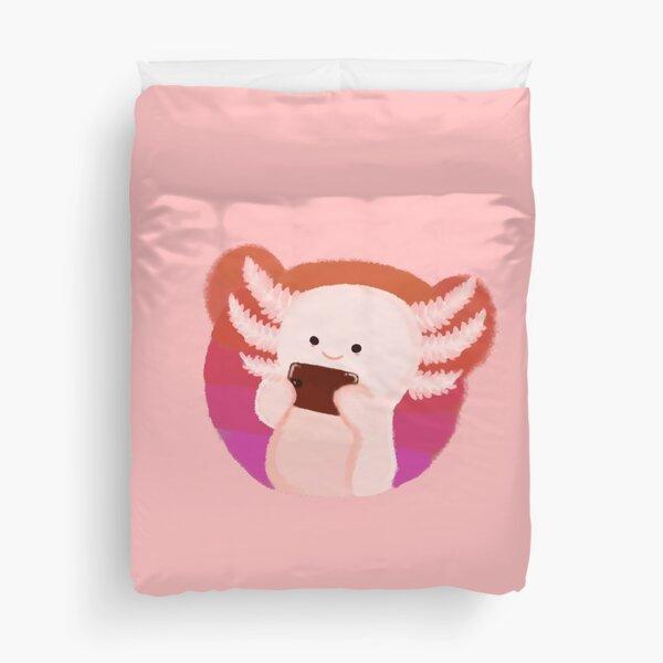Pink Axolotl  Duvet Cover