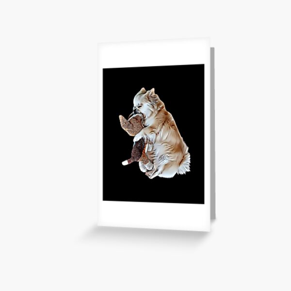Adorable Sleeping Tibetan Spaniel with Her Toy Dog , Drawing Greeting Card