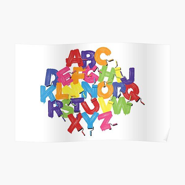 Letters Of The Alphabet Painted With Paint Roller  Poster