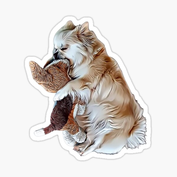 Adorable Sleeping Tibetan Spaniel with Her Toy Dog , Drawing Sticker
