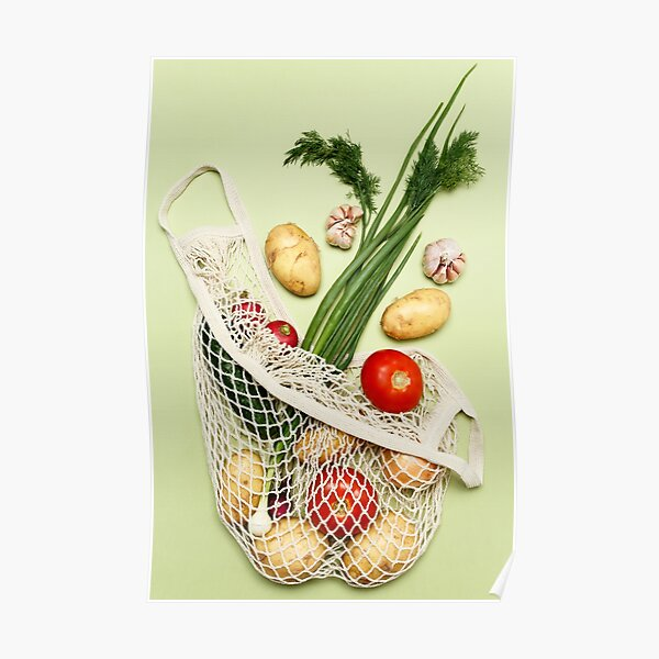 Trendy string bag with fresh vegetables and greens over light green background: potatoes, tomatoes, onion, garlic. Zero waste sustainable lifestyle concept. Poster