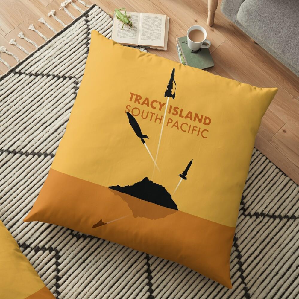 Tracy Island 'Thunderbirds' Art - Sunset Colour Scheme Floor Pillow