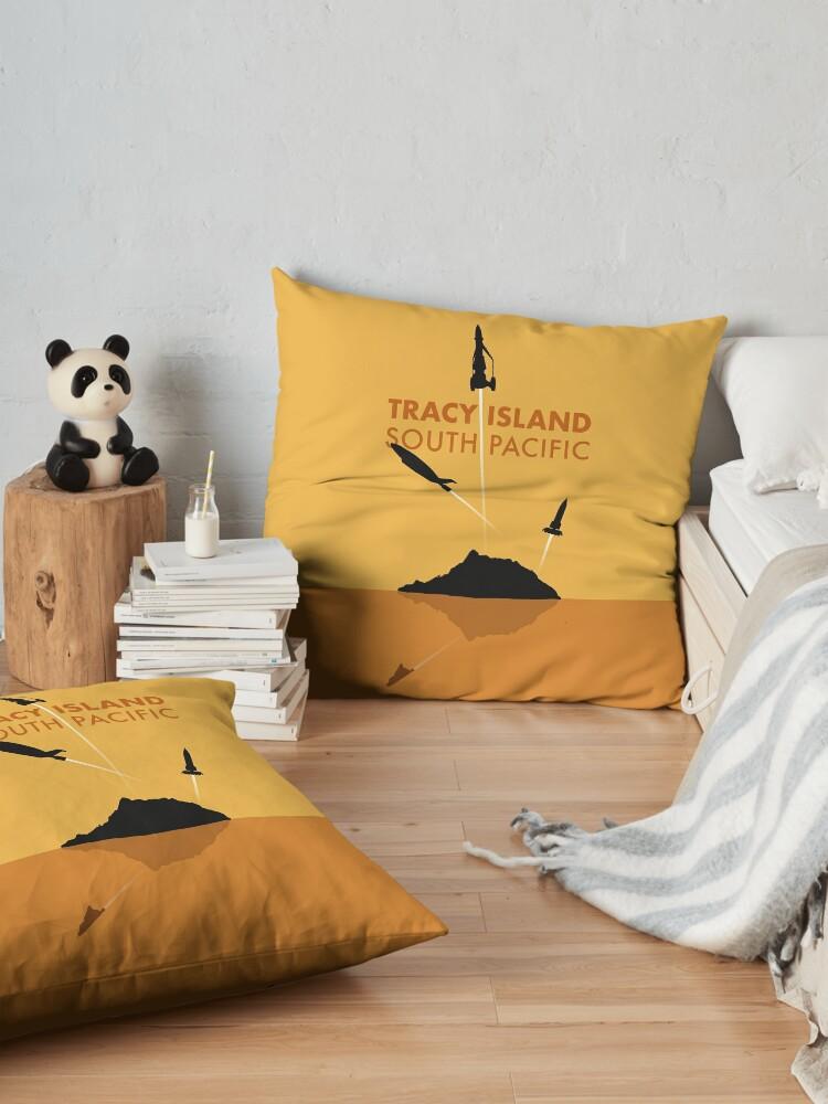 Alternate view of Tracy Island 'Thunderbirds' Art - Sunset Colour Scheme Floor Pillow