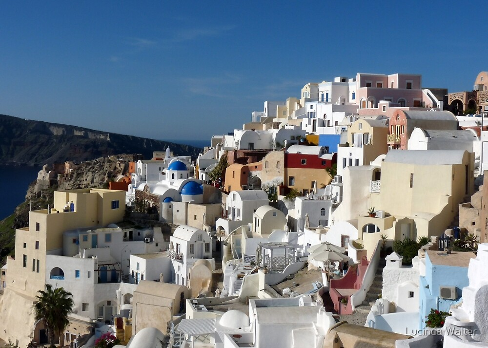 Houses and Blue Domed Churches of Santorini Greece by Lucinda Walter