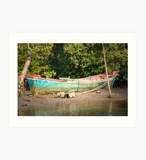 Turquoise boat Art Print