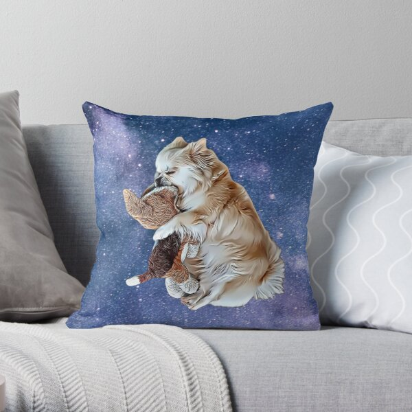 Sleeping Tibetan Spaniel with Universe Background , Drawing Throw Pillow