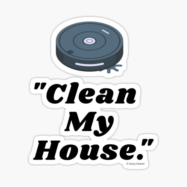 Clean My House Retro Robot Vacuum Housekeeping Lady Gifts Sticker