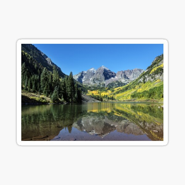 Autumnal view of Rocky Mountain Peaks Sticker