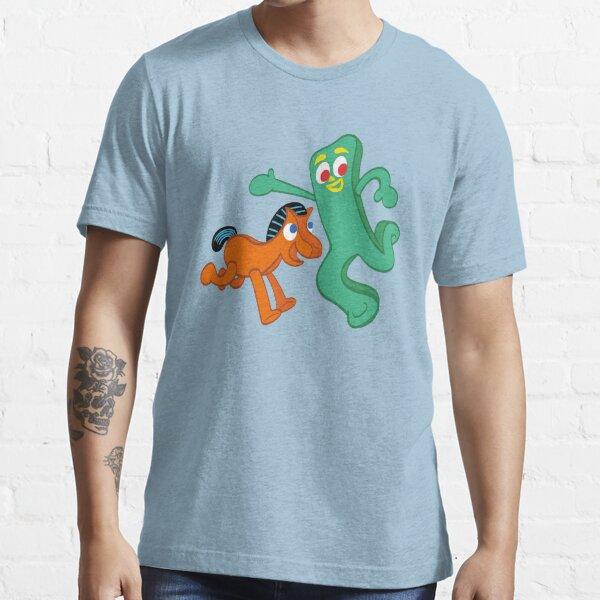 Gumby Leaning on Logo Men/'s Novelty T-Shirt