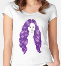Purple Hair Girl Drawing Women's Fitted Scoop T-Shirt