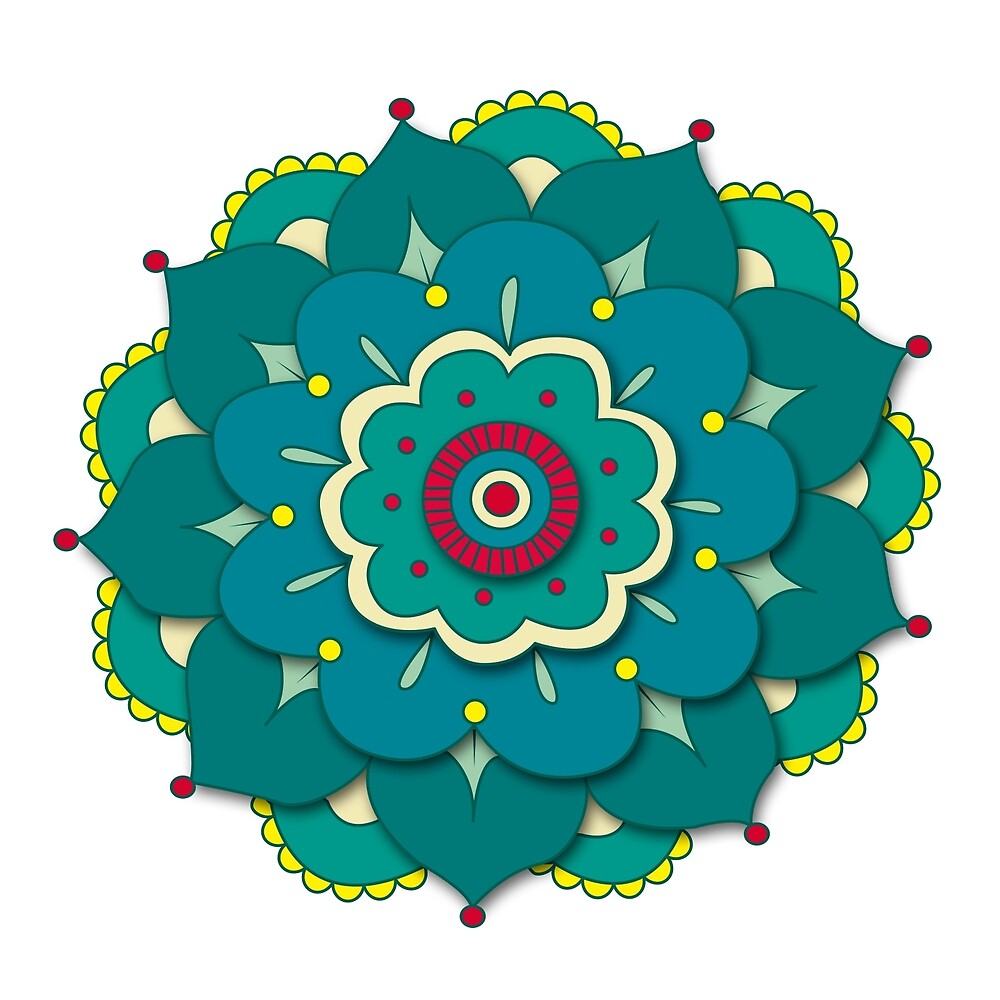 Lotus Flower Mandala Green By Vicho Redbubble