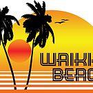 WAIKIKI BEACH HAWAII SUNSET OCEAN SURFING SURF VINTAGE OLD SCHOOLS 70'S by MyHandmadeSigns