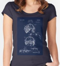 Antique Welders Goggles blueprint drawing Women's Fitted Scoop T-Shirt