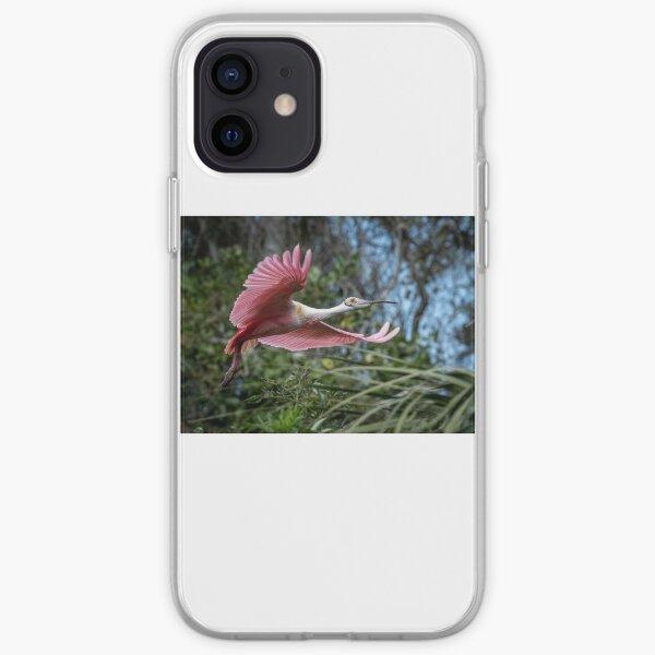 Roseate Spoonbill in Flight iPhone Soft Case