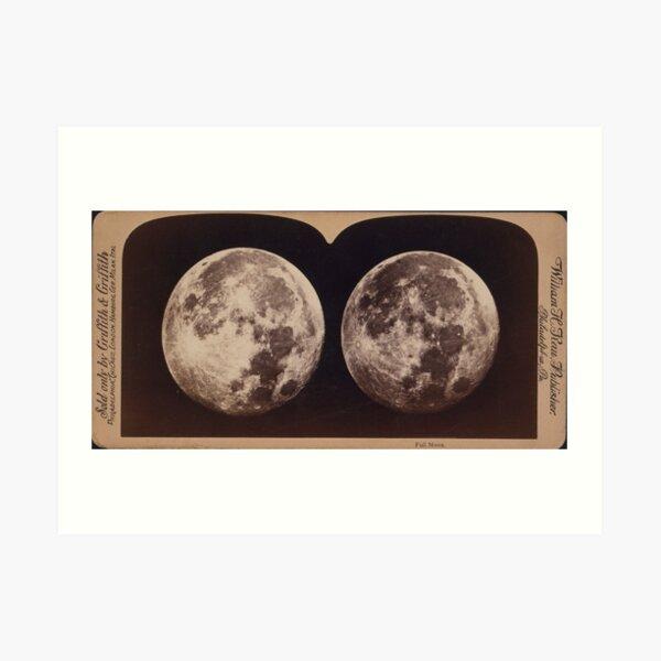 Full Moon Stereographic Card Art Print