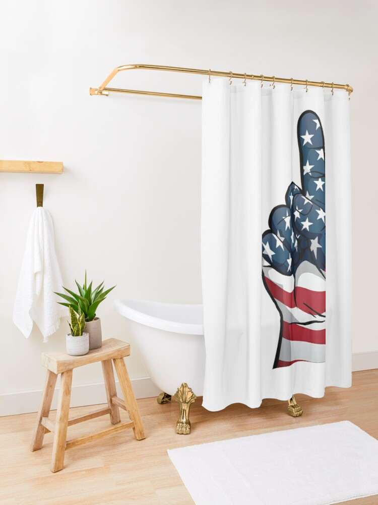 Alternate view of USA One Patriotic Hand in Red, White and Blue Stars and Stripes Shower Curtain