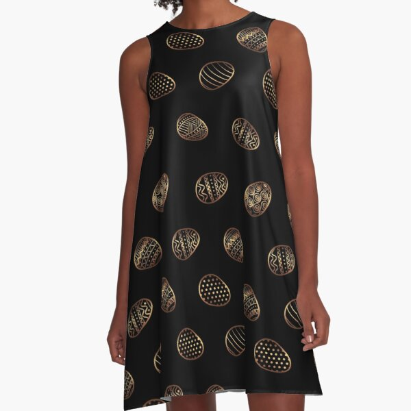 easter eggs gold pattern A-Line Dress