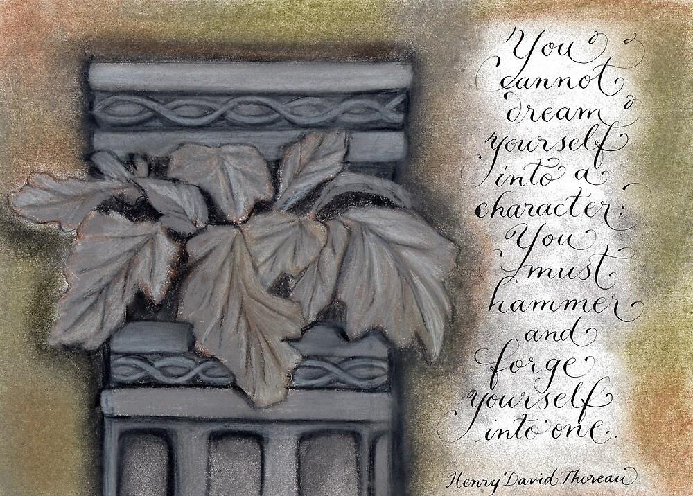 Thoreau quote calligraphy art by Melissa Renee